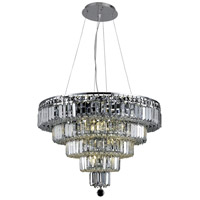 Elegant Lighting Maxim 14 Light Dining Chandelier in Chrome with Elegant Cut Clear Crystal 2036D26C/EC