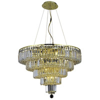 Elegant Lighting Maxim 14 Light Dining Chandelier in Gold with Elegant Cut Clear Crystal 2036D26G/EC