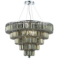 Elegant Lighting Maxim 17 Light Dining Chandelier in Chrome with Royal Cut Golden Teak Crystal 2036D30C-GT/RC