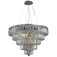 Elegant Lighting Maxim 17 Light Dining Chandelier in Chrome with Elegant Cut Clear Crystal 2036D30C/EC