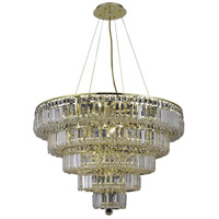 Elegant Lighting Maxim 17 Light Dining Chandelier in Gold with Swarovski Strass Clear Crystal 2036D30G/SS