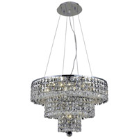 Elegant Lighting Maxim 9 Light Dining Chandelier in Chrome with Elegant Cut Clear Crystal 2037D20C/EC