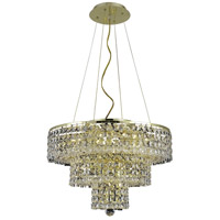 Elegant Lighting Maxim 9 Light Dining Chandelier in Gold with Elegant Cut Clear Crystal 2037D20G/EC