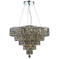 Elegant Lighting Maxim 14 Light Dining Chandelier in Chrome with Royal Cut Golden Teak Crystal 2037D26C-GT/RC