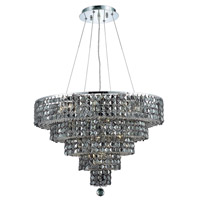 Elegant Lighting Maxim 14 Light Dining Chandelier in Chrome with Swarovski Strass Silver Shade Crystal 2037D26C-SS/SS