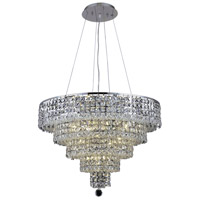 Elegant Lighting Maxim 14 Light Dining Chandelier in Chrome with Elegant Cut Clear Crystal 2037D26C/EC