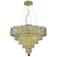 Elegant Lighting Maxim 14 Light Dining Chandelier in Gold with Swarovski Strass Clear Crystal 2037D26G/SS