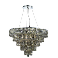 Elegant Lighting Maxim 17 Light Dining Chandelier in Chrome with Swarovski Strass Golden Teak Crystal 2037D30C-GT/SS