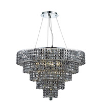 Elegant Lighting Maxim 17 Light Dining Chandelier in Chrome with Swarovski Strass Silver Shade Crystal 2037D30C-SS/SS