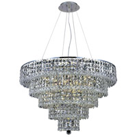Elegant Lighting Maxim 17 Light Dining Chandelier in Chrome with Elegant Cut Clear Crystal 2037D30C/EC