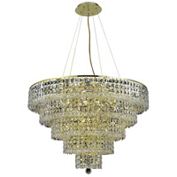 Elegant Lighting Maxim 17 Light Dining Chandelier in Gold with Elegant Cut Clear Crystal 2037D30G/EC
