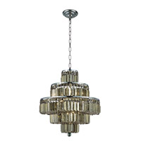 Maxime 13 Light 20 inch Chrome Dining Chandelier Ceiling Light in Golden Teak, Swarovski Strass