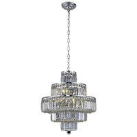 Elegant Lighting Maxim 13 Light Dining Chandelier in Chrome with Elegant Cut Clear Crystal 2038D20C/EC