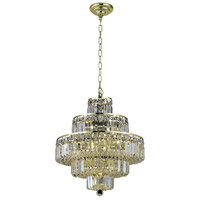 Elegant Lighting Maxim 13 Light Dining Chandelier in Gold with Swarovski Strass Clear Crystal 2038D20G/SS