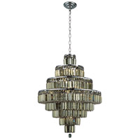 Elegant Lighting Maxim 18 Light Dining Chandelier in Chrome with Royal Cut Golden Teak Crystal 2038D26C-GT/RC