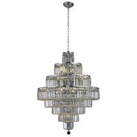 Elegant Lighting Maxim 18 Light Dining Chandelier in Chrome with Elegant Cut Clear Crystal 2038D26C/EC