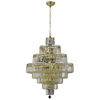 Elegant Lighting Maxim 18 Light Dining Chandelier in Gold with Elegant Cut Clear Crystal 2038D26G/EC
