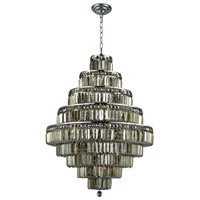 Maxime 20 Light 30 inch Chrome Dining Chandelier Ceiling Light in Golden Teak, Swarovski Strass