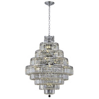 Elegant Lighting Maxim 20 Light Dining Chandelier in Chrome with Elegant Cut Clear Crystal 2038D30C/EC