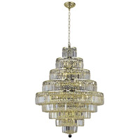 Elegant Lighting Maxim 20 Light Dining Chandelier in Gold with Elegant Cut Clear Crystal 2038D30G/EC