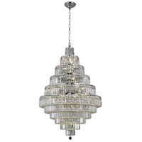 Elegant Lighting Maxim 30 Light Dining Chandelier in Chrome with Elegant Cut Clear Crystal 2038D32C/EC