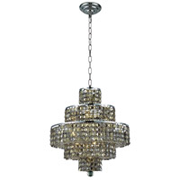 Elegant Lighting Maxim 13 Light Dining Chandelier in Chrome with Swarovski Strass Golden Teak Crystal 2039D20C-GT/SS