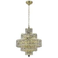 Elegant Lighting Maxim 13 Light Dining Chandelier in Gold with Elegant Cut Clear Crystal 2039D20G/EC