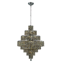 Elegant Lighting Maxim 18 Light Dining Chandelier in Chrome with Swarovski Strass Golden Teak Crystal 2039D26C-GT/SS