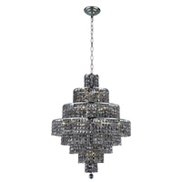 Elegant Lighting Maxim 18 Light Dining Chandelier in Chrome with Swarovski Strass Silver Shade Crystal 2039D26C-SS/SS