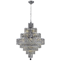 Elegant Lighting Maxim 18 Light Dining Chandelier in Chrome with Elegant Cut Clear Crystal 2039D26C/EC