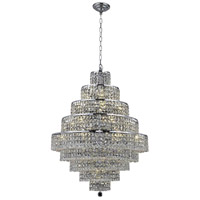 Elegant Lighting Maxim 20 Light Dining Chandelier in Chrome with Elegant Cut Clear Crystal 2039D30C/EC
