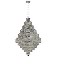 Elegant Lighting Maxim 30 Light Dining Chandelier in Chrome with Elegant Cut Clear Crystal 2039D32C/EC