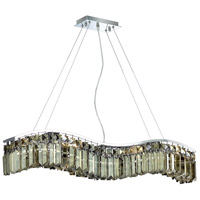 Elegant Lighting Contour 6 Light Dining Chandelier in Chrome with Swarovski Strass Golden Teak Crystal 2040D30C-GT/SS