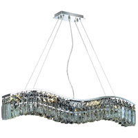 Elegant Lighting Contour 6 Light Dining Chandelier in Chrome with Royal Cut Clear Crystal 2040D30C/RC