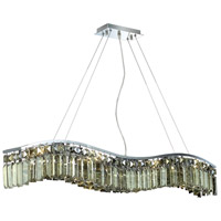 Elegant Lighting Contour 8 Light Dining Chandelier in Chrome with Royal Cut Golden Teak Crystal 2040D36C-GT/RC