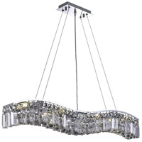 Elegant Lighting Contour 8 Light Dining Chandelier in Chrome with Swarovski Strass Clear Crystal 2040D36C/SS