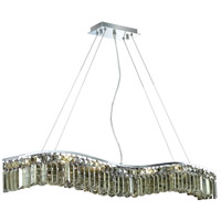 Elegant Lighting Contour 10 Light Dining Chandelier in Chrome with Swarovski Strass Golden Teak Crystal 2040D44C-GT/SS