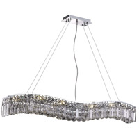 Elegant Lighting Contour 10 Light Dining Chandelier in Chrome with Elegant Cut Clear Crystal 2040D44C/EC