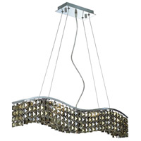 Elegant Lighting Contour 6 Light Dining Chandelier in Chrome with Swarovski Strass Golden Teak Crystal 2041D30C-GT/SS