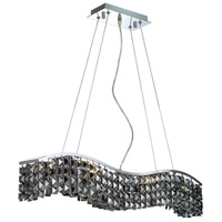 Elegant Lighting Contour 6 Light Dining Chandelier in Chrome with Swarovski Strass Silver Shade Crystal 2041D30C-SS/SS