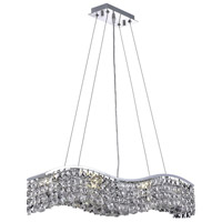 Elegant Lighting Contour 6 Light Dining Chandelier in Chrome with Elegant Cut Clear Crystal 2041D30C/EC