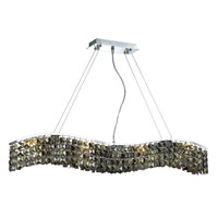 Elegant Lighting Contour 8 Light Dining Chandelier in Chrome with Royal Cut Golden Teak Crystal 2041D36C-GT/RC