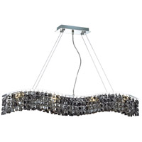 Elegant Lighting Contour 8 Light Dining Chandelier in Chrome with Swarovski Strass Silver Shade Crystal 2041D36C-SS/SS