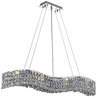 Elegant Lighting Contour 8 Light Dining Chandelier in Chrome with Royal Cut Clear Crystal 2041D36C/RC