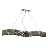 Elegant Lighting Contour 10 Light Dining Chandelier in Chrome with Swarovski Strass Golden Teak Crystal 2041D44C-GT/SS