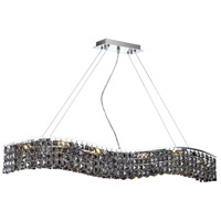 Elegant Lighting Contour 10 Light Dining Chandelier in Chrome with Swarovski Strass Silver Shade Crystal 2041D44C-SS/SS