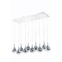 Elegant Lighting Edison 10 Light Pendant in Chrome with Royal Cut Clear Crystal 2054D10O/RC