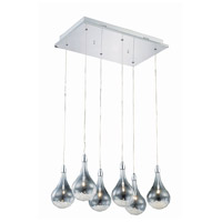 Elegant Lighting Edison 6 Light Pendant in Chrome with Royal Cut Clear Crystal 2054D6O/RC