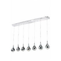 Elegant Lighting Edison 7 Light Pendant in Chrome with Royal Cut Clear Crystal 2054D7O/RC