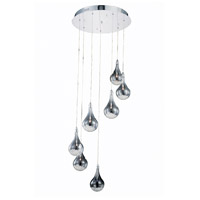 Elegant Lighting Edison 7 Light Pendant in Chrome with Royal Cut Clear Crystal 2054D7R/RC